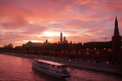 Red sunset above Moscow river Royalty Free Stock Photography