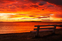 Red sunset. Beautiful sunset by the beach Royalty Free Stock Photo