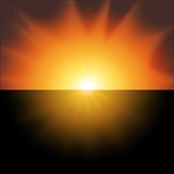 Red sunset on a black background vector.  Stock Image