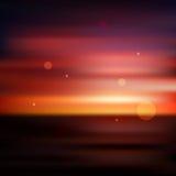 Red sunset blurred background. Red colorful sunset sea ocean seaside blurred defocused vector background, design template royalty free illustration