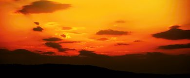 Red sunset. Bright red and orange colors sunset sky Royalty Free Stock Photography