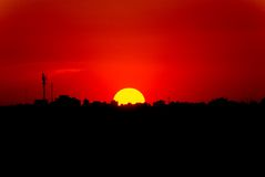 Red Sunset in the City, Royalty Free Stock Photos