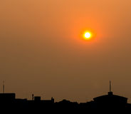 Red sunset and city Royalty Free Stock Photo