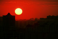 Red sunset city Royalty Free Stock Images
