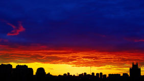 Red sunset city Royalty Free Stock Image