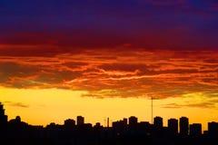Red sunset city Stock Photo