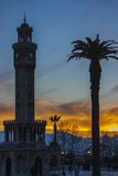 Red sunset at the clock tower of Izmir Turkey Stock Photography