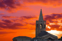 Red sunset with clouds over Alghero Stock Photography