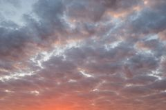 Red sunset cloudy sky. Red, orange sunset cloudy sky royalty free stock photography