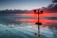 Red Sunset Cross Stock Photo