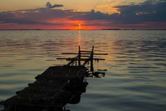 Red sunset at the Dnieper river near the Cherkassy Stock Photo