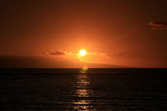 Red sunset of Hawaii. Island Maui Stock Images