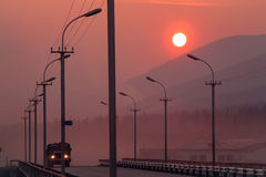 Red sunset in a haze. Stock Photography