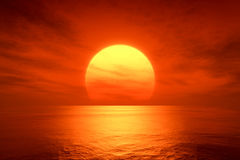 Red sunset. An image of a beautiful red sunset over the ocean Stock Images