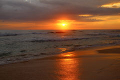 Red sunset in the Indian ocean. Sri Lanka Royalty Free Stock Photography