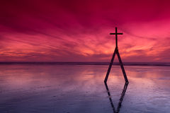 Red Sunset Ladder Cross Royalty Free Stock Photo