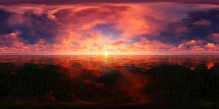 Red sunset in a lake. This picture represents a blue sky with red clouds in a lake stock photos