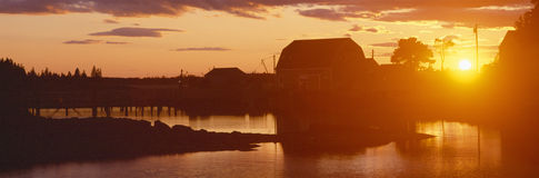 Red sunset at Lobster Village, stock image