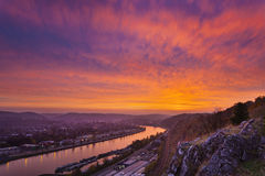 Red Sunset at Meuse River Stock Images