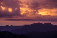 Red sunset mountain landscape Stock Photos