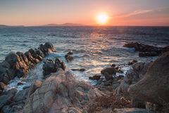 Red sunset on Mykonos Stock Image