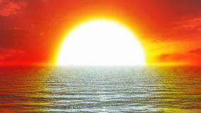 Red sunset and open sea,looping, stock footage Stock Photo