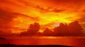Red sunset stock footage