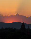 Red sunset over Bagan, silhouettes pagodas Stock Image