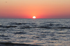 Red Sunset over Baltic Sea Stock Photos
