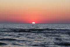 Red Sunset over Baltic Sea Stock Photography