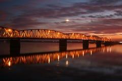 Red sunset over the bridge Stock Photo