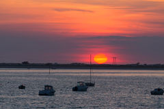 Red sunset over Carnac beach Stock Images