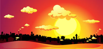 Red sunset over the city - vector illustration Stock Image