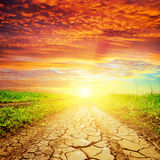 Red sunset over drought road Royalty Free Stock Photo