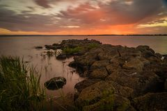 Red sunset over Lake Corangamite in the summer Royalty Free Stock Photo