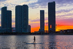 Red sunset over Miami city in Florida, USA Stock Image