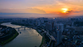 A red sunset over Nanning Stock Photography