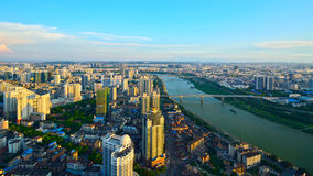 A red sunset over Nanning stock images