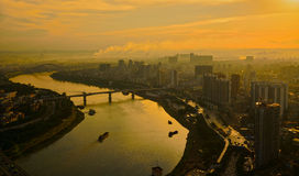 A red sunset over Nanning. There is a red sunset over Nanning, Guangxi, China Royalty Free Stock Images