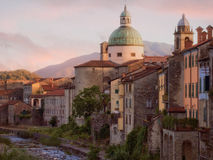 Red sunset over Pontremoli town, Italy. Stock Photo