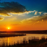 Red sunset over river Royalty Free Stock Photography