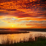 Red sunset over river Royalty Free Stock Images