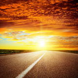 Red sunset over road Royalty Free Stock Photography