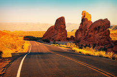 Red sunset over road, southern Nevada Stock Photography