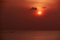 Red sunset over sea Royalty Free Stock Images