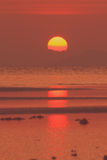 Red sunset over sea with golden light sky Royalty Free Stock Photo