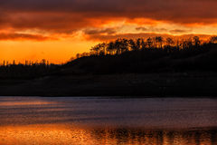 Red sunset over water Royalty Free Stock Images