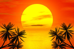 Red sunset and palm. In the sea stock illustration