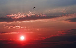 Red sunset with paraglider Stock Photography