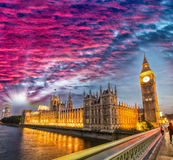 Red sunset sky over magnificent Big Ben, London Royalty Free Stock Image
